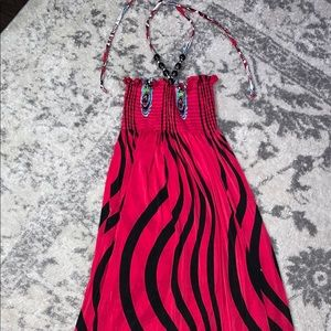 Hot pink/black patterned strapless Beach coverup